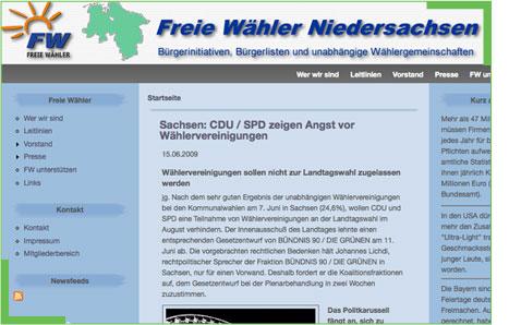 Bild: SCREENSHOT Freie W�hler Niedersachsen